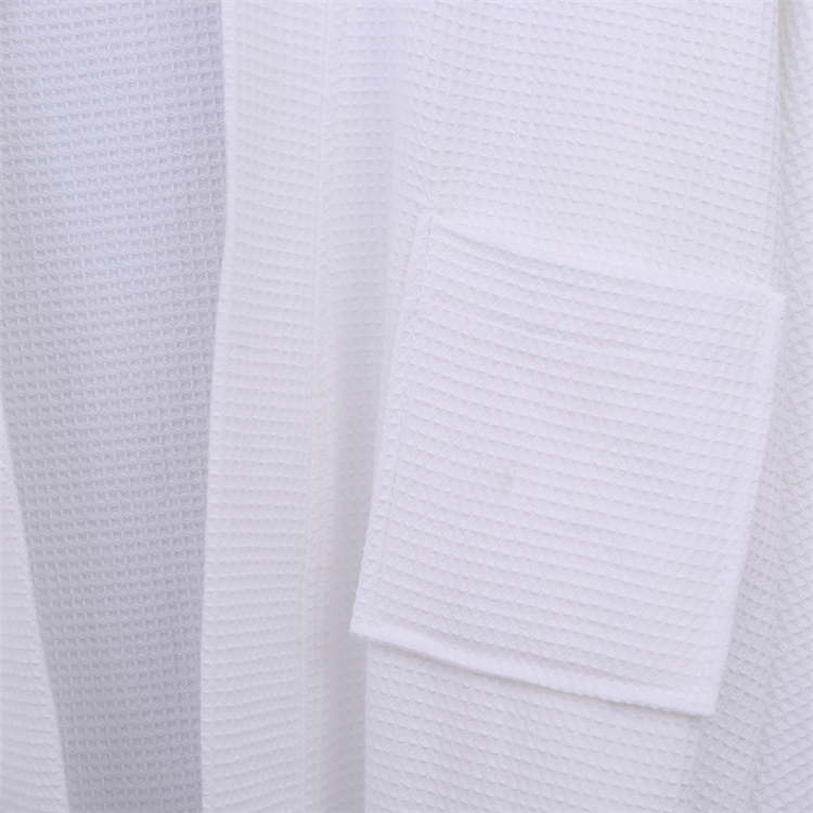 China supplier 100% Cotton Kimono Waffle Dressing Gown in White 240gsm bath robe