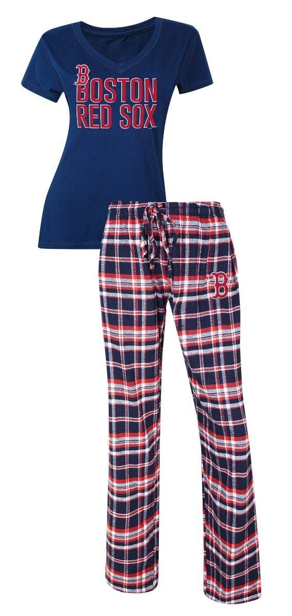 a9f20f5ec0 Get Quotations · Boston Red Sox MLB Tiebreaker Women s T-shirt   Flannel  Pajama Sleep Set
