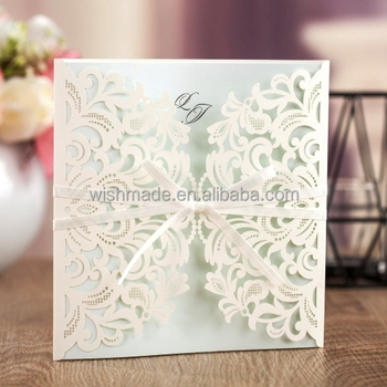 Wishmade white lovely floral laser cutting engagement invitation wishmade white lovely floral laser cutting engagement invitation card design aw7015 m4hsunfo