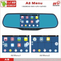 android car blackbox, rearview mirror vehicle recorder, car moving dvr recorder,A8