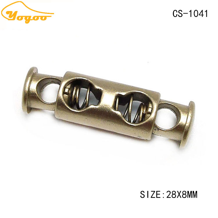 Fancy 2 Hole Matt Gold Metal Spring End Lock Stopper for Clothing / Handbags