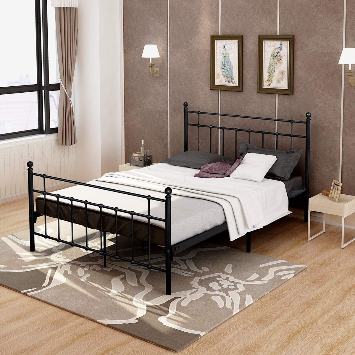 DUMEE  Queen Size Metal Platform Bed Frame WTH Headboard Footboard Steel Round Slat Mattress Foundation Black
