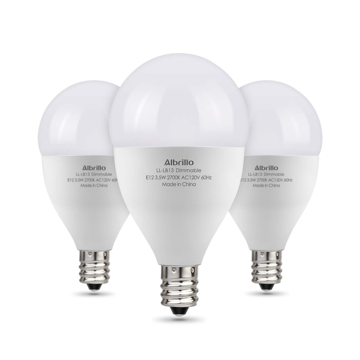 Albrillo Dimmable LED Light Bulbs E12 Bulb, 40 Watt Incandescent Equivalent, Warm White 2700K, 3 Pack