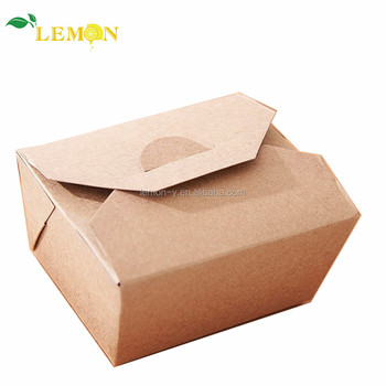 Custom Logo Food Grade Craft Paper Lunch Box Take Away Fast Food Packaging Box For Lunch