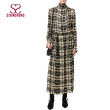 Fashion elegant winter black and beige silk high neck long sleeves check shift maxi dress