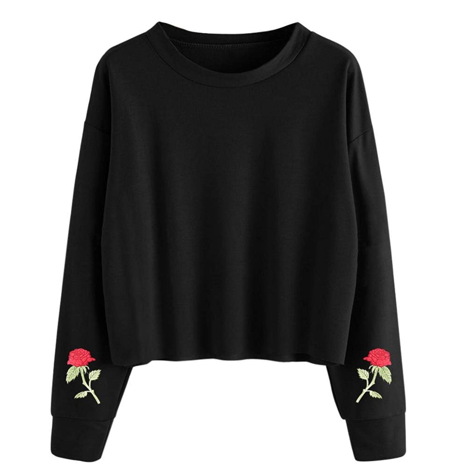 UPLOTER__Shirts Womens Embroidery Pullover Long Sleeve Blouse Pullover Tops