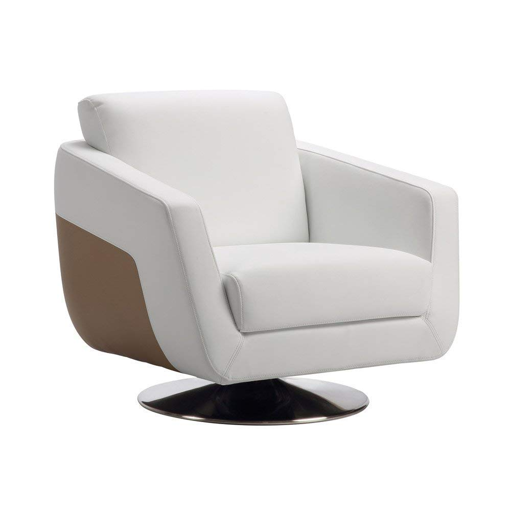 Buy Zuri Furniture Modern Armondo Swivel Armchair In Two Tone White