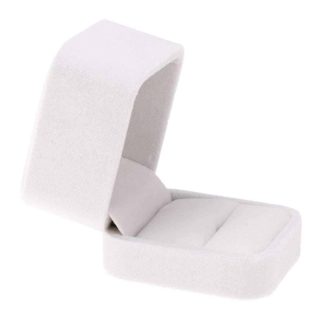 Baoblaze Elegant Wedding Ring Earring Necklace Pendant Display Storage Box Velvet - White