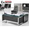 Modern executive table tempered glass office desk with metal chrome leg