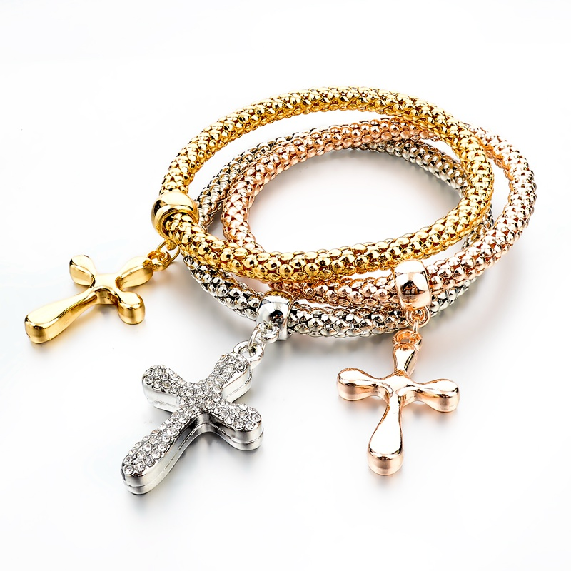 Celebrity Style Small Sideways Cross Bracelet with CZ Stones - Silver, Yellow or Rose Gold