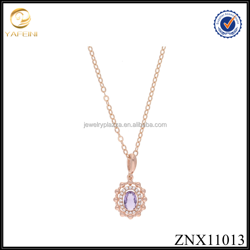 Wholesale oval frame simulated blue birthstone pendant cubic zirconia jewellery 925 Sterling Silver necklace jewelry