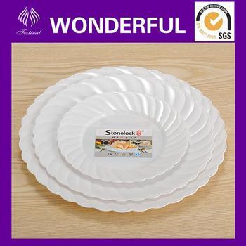 hard plastic dinner plate in white color with silver rim  sc 1 st  Alibaba & Hard Plastic Dinner Plate In White Color With Silver Rim - Buy Hard ...