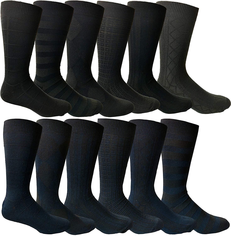 7d761a085fa0 Get Quotations · Yacht&Smith Mens Black, Navy Dress Socks, Textured Design  Premium Knit