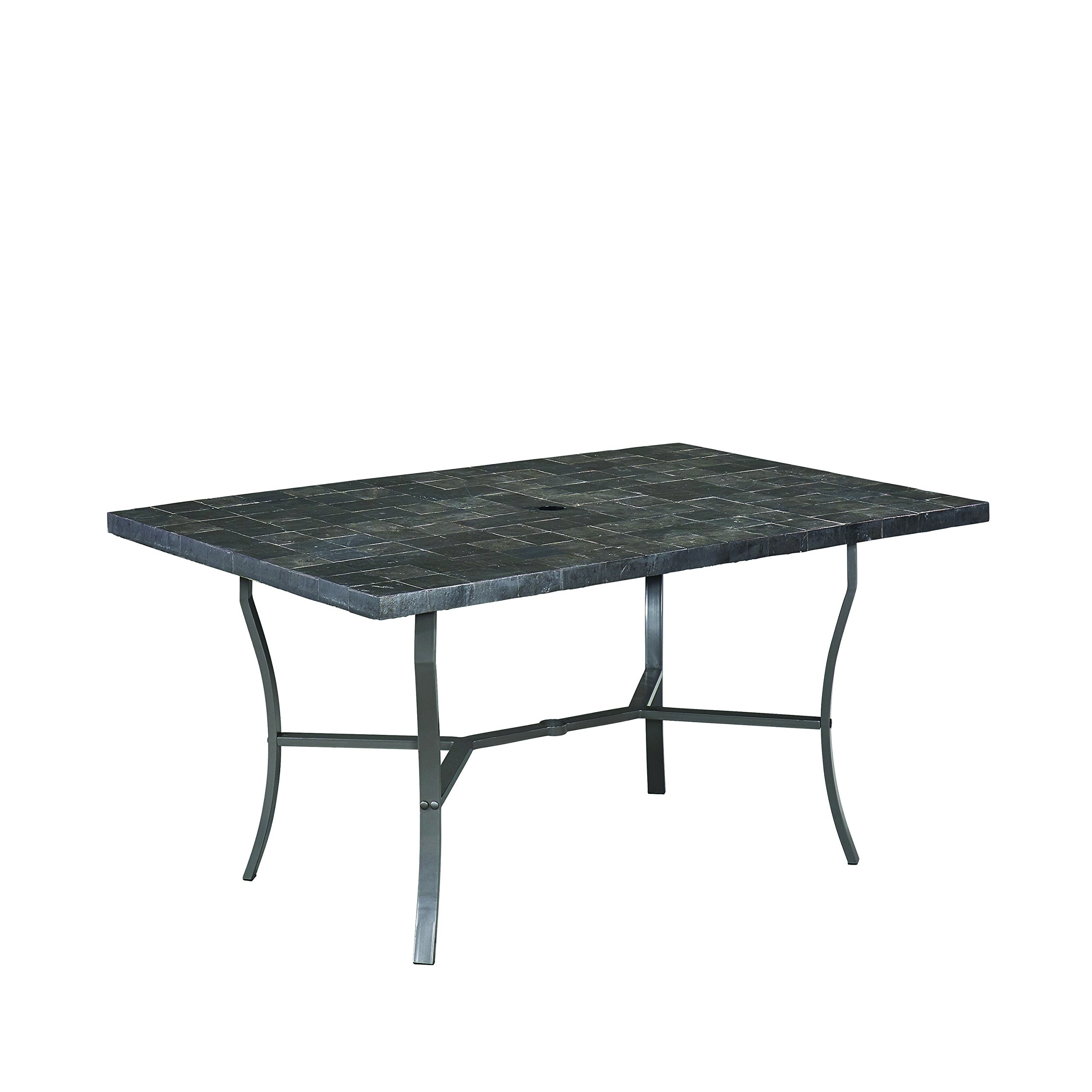 Home Styles 6000-31 Stone Veneer Slate Tile Top Outdoor Dining Table, Gray