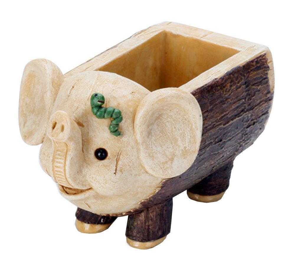 FUYU Creative Imitation Wood Grain Wooden Stake Animal Pig Elephant Succulent Plant Resin Flowerpot Miniature Planter Pots