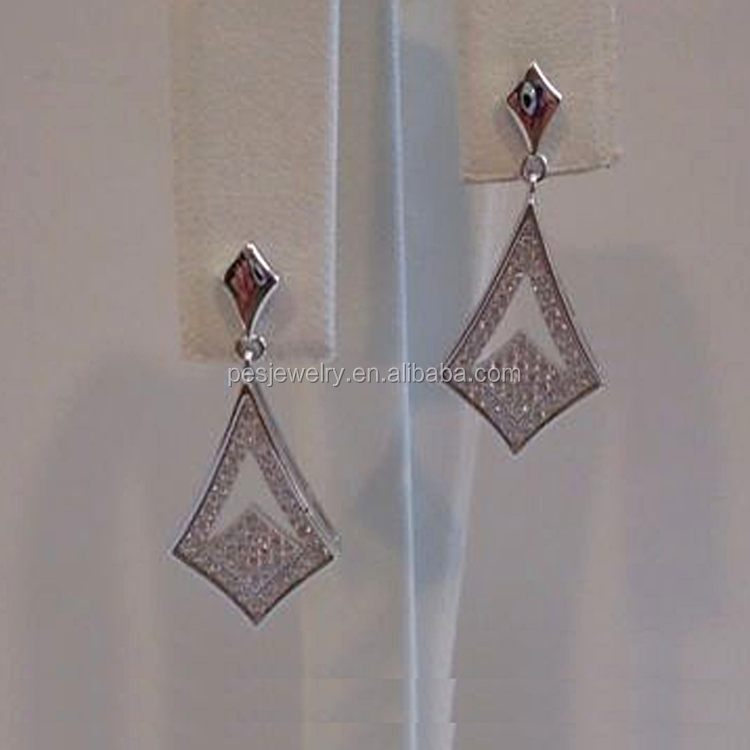 925 STERLING SILVER OPEN SHARP MARQUIS DESIGN DANGLING EARRINGS
