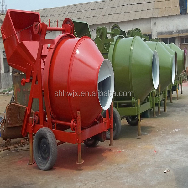 With electric motor power and wire rope hoisting hopper Cheap price Mini Coment Concrete mixer
