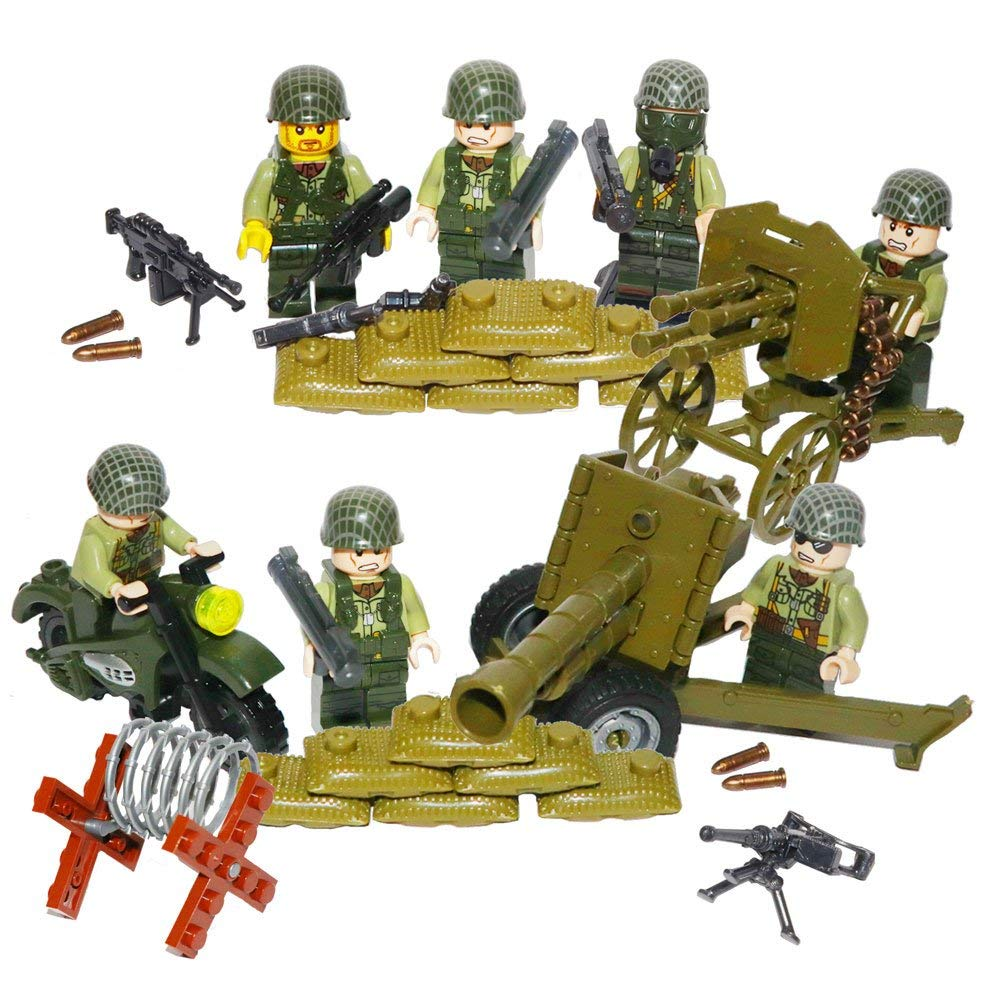 Rikuzo World War 2 Series Battlefield Army Figures With Many Weapons Accessories Compatible Building Blocks Toys Set