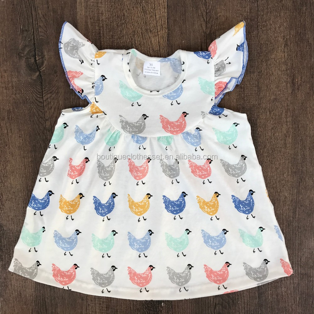 New arrival children's chicken dress boutique kids flutter sleeve pearl tunic dress for summer cute chicken pearl dress