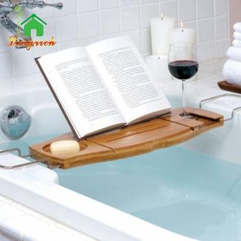 Bamboo Bathroom Caddy Bathtub Wine Book Reading Stand Tray Holder ...