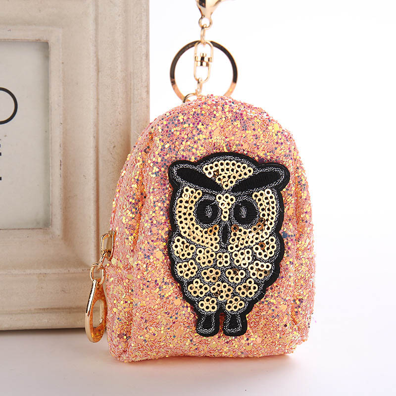 Amazon Hot Sale 6 Styles Owl Keychain Shining Sequins Mini Coin Purse Key Rings Girl Women Bag Pendant Accessories Key Holder