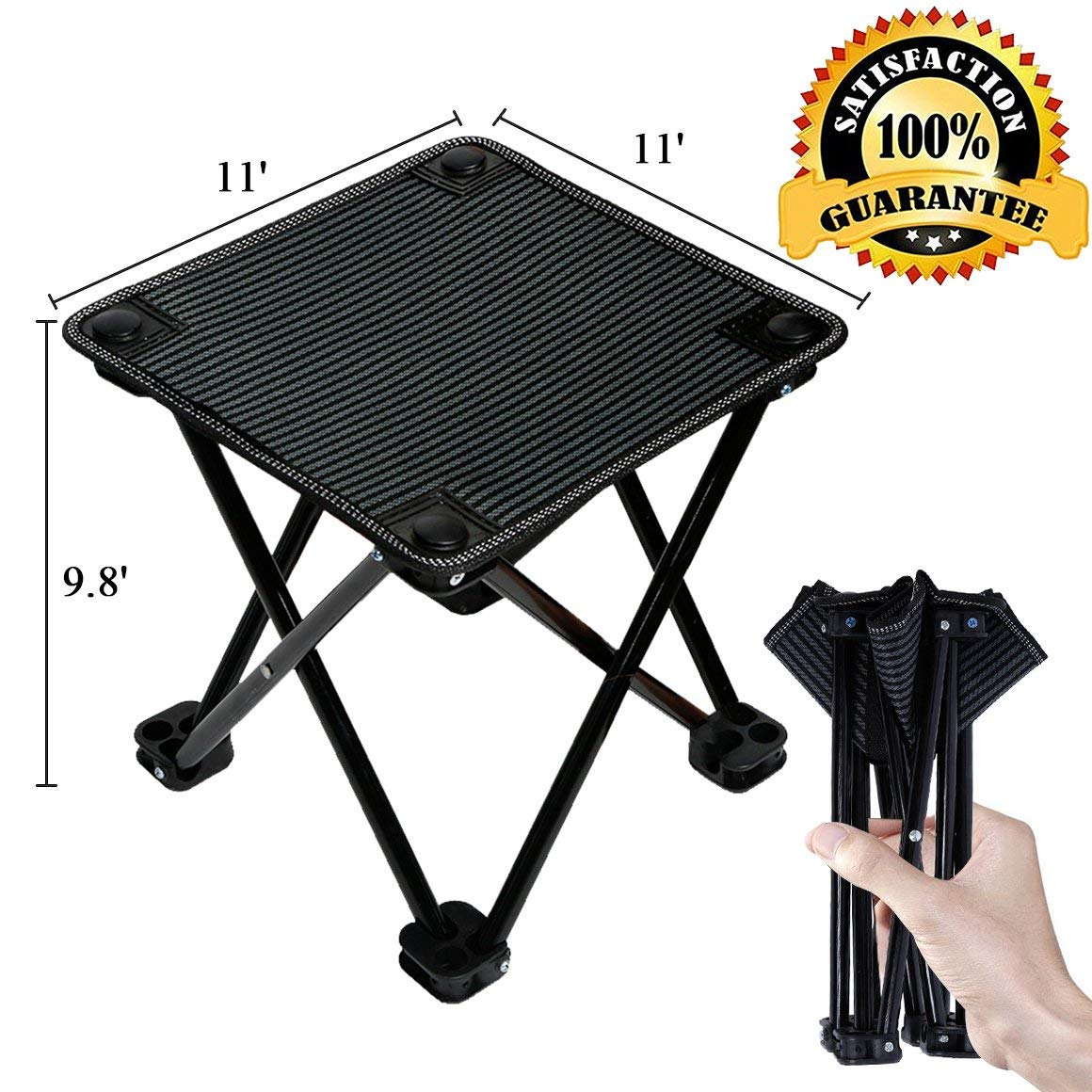 aingycy Folding Portable Camping Chair Mini Lightweight Sturdy Collapsible Chair for Camping, Fishing, Hiking, Fishing, Travel, Beach, Picnic with Portable Bag, Black