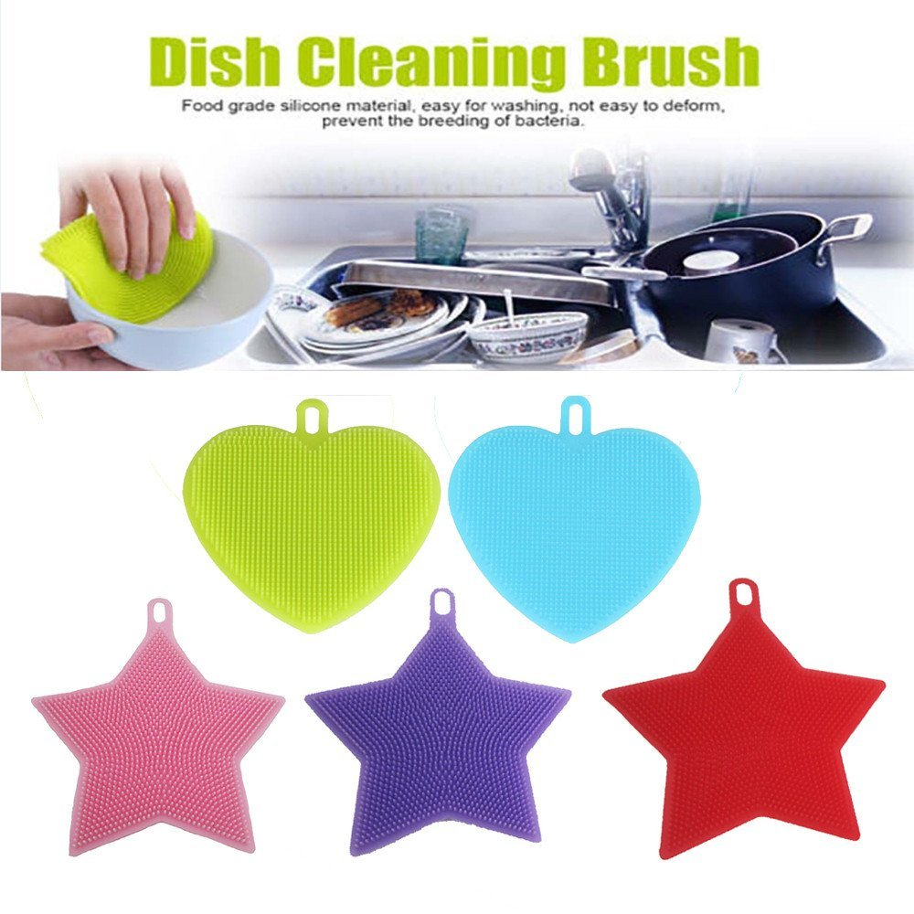 CieKen 5Pcs Antibacterial Silicone Non Stick Dish washing Dish Brush Sponge Silicone Dish Washing Sponge Towel Scrubber For Kitchen Wash Pot Pan Dish Bowl / Wash Fruit and Vegetable