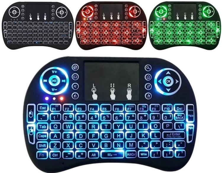 2017 Factory price Mini i8 Pro air fly mouse backlit gaming mechanical keyboard for home use