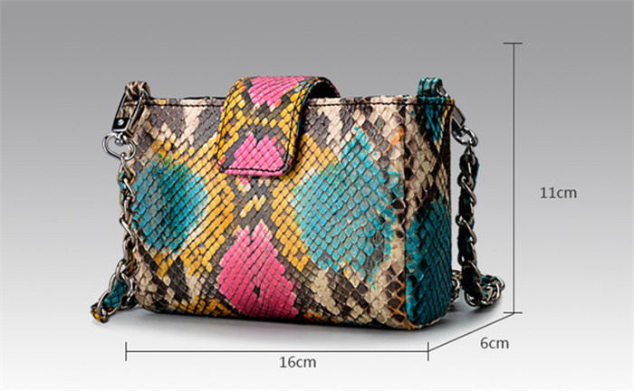 Customize real python snake skin designer shoulder bags chain crossbody bag