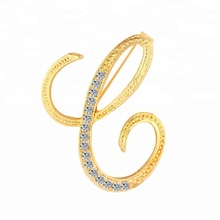 New Rhinestone Crystal Brooches Gold Color Initial Letter Brooch A S lapel Pins and Brooch Name