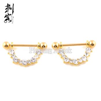 Gold Anodized Cz Crystal Nipple Barbells Nipple Piercing Buy