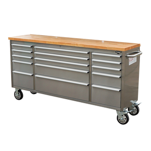 15 Drawers Toolbox Storage Cabinet Stainless 72 inch rolling tool chest work bench