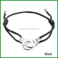 magnetic shiny silver handcuffs black leather bracelets