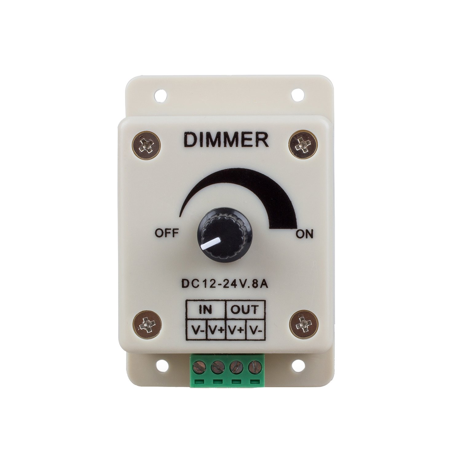 BestLED PWM Dimming Controller for LED Lights, Ribbon, Strip, 12 - 24 Volt (12V - 24V) 8 Amp, Electrical Dimmer Switches for Home, Commercial, Industrial, and Office. Dimmer is compatible with Hilight, LEDwholesaler, fillite, and others' strips
