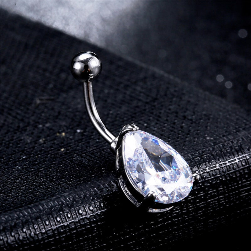 KUNIU Hollow Ellipse Micro Insert Zircon Crystal Navel Belly Ring ,Belly Ring Piercings