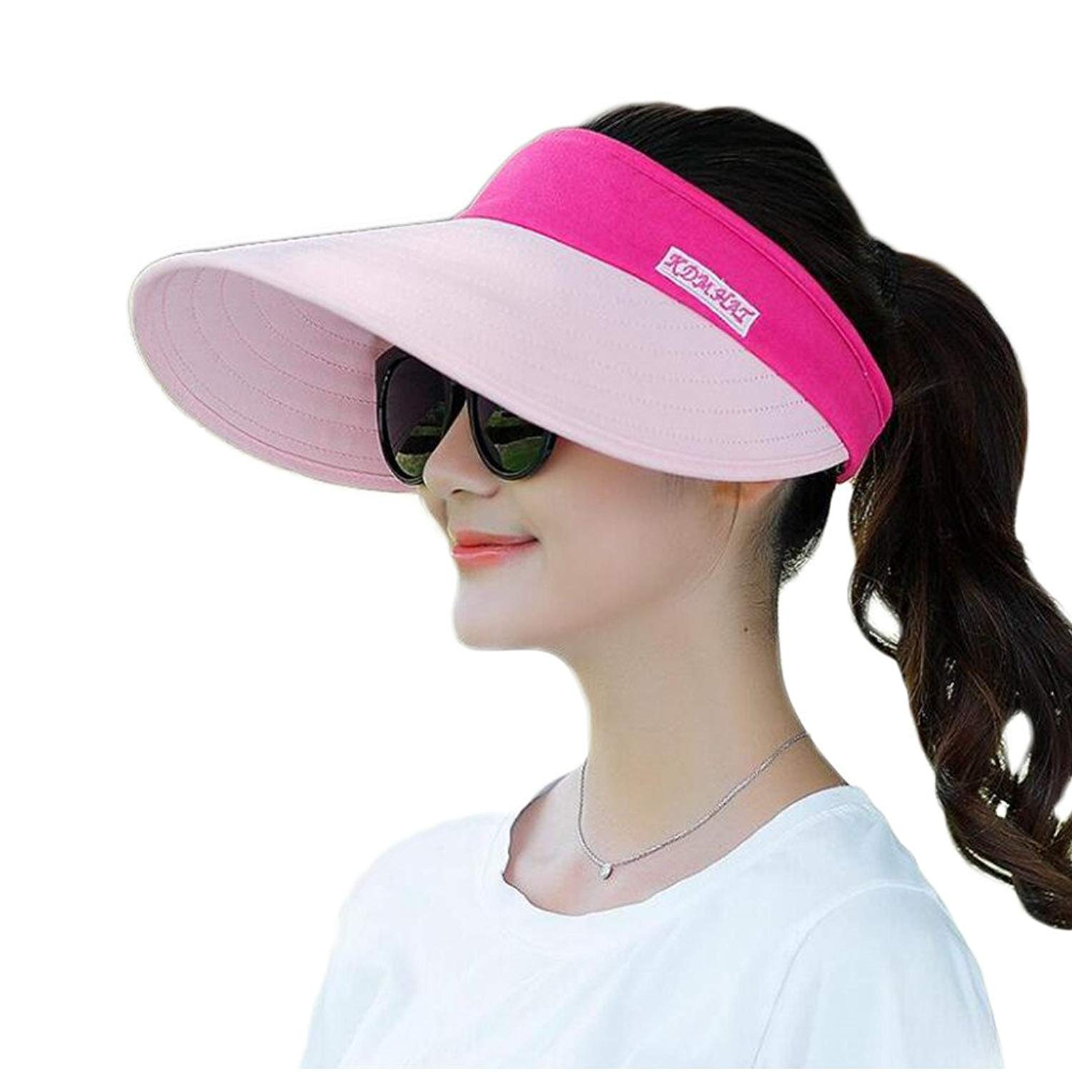 0ef37dd42ce Get Quotations · FuzzyGreen Large Brim Sun Hat, Summer UV Protection Beach  Sun Hat Adjustable Packable Packable Cap