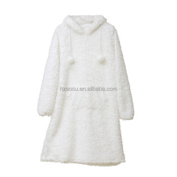 Fluffy Fleece Hooded Dressing Gown Women Robe - Buy Dressing Gown ... 4732cb7a1