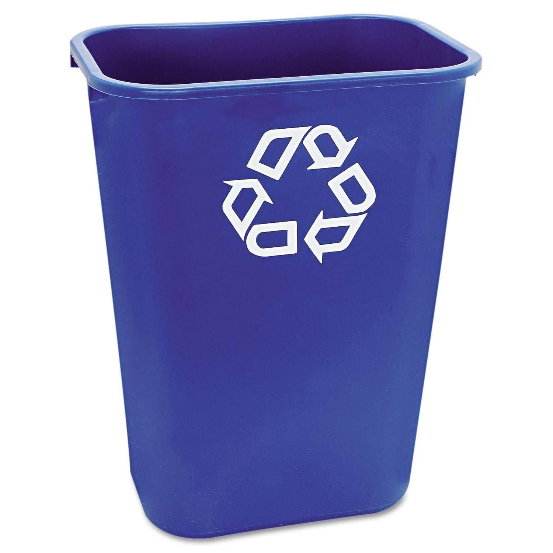 Bulk Large Deskside Recycle Container w/Symbol, Rectangular, Plastic, 41.25qt, Blue: Rubbermaid 2957-73 (12 Trash Cans)