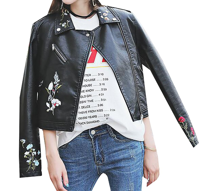 Fensajomon Mens Stylish Loose Printing Zip Up Faux Pu Lapel Motorcycle Jacket Coat