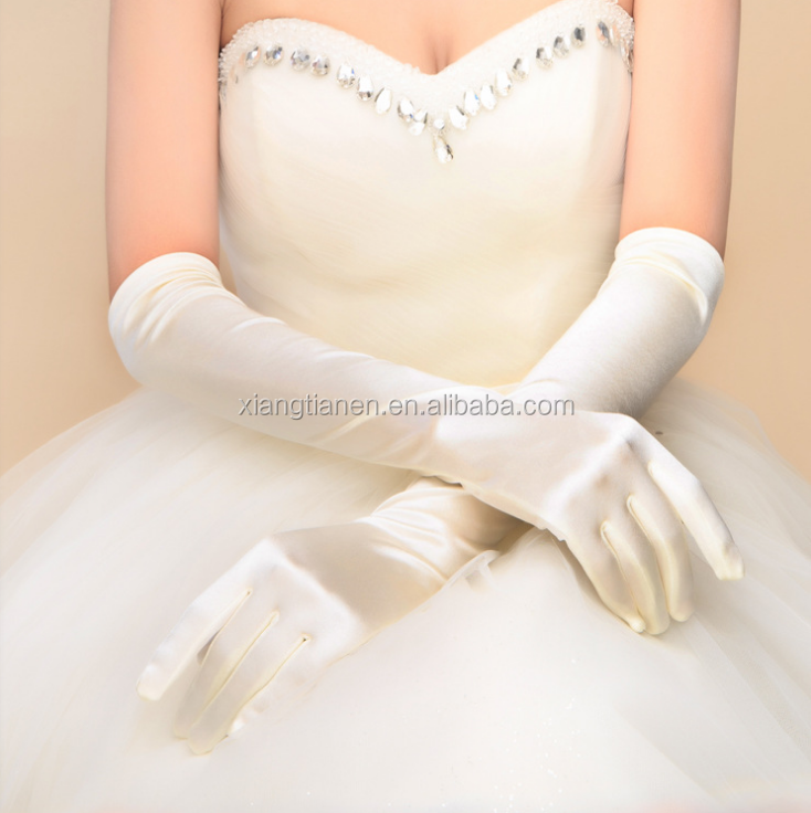 Elbow length long beautiful stretch fashion wedding bridal evening party satin gloves