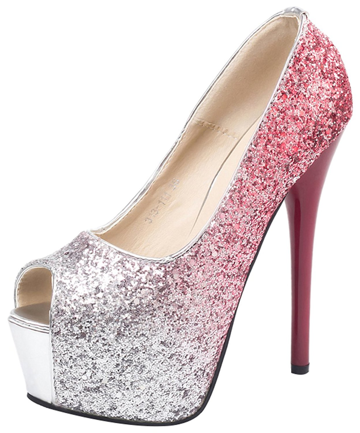 fbe303559a92 Get Quotations · Passionow Women s Dressy Gradient Bling Slip-ons Sequins  Super High Stilettos Peep Toe Platform Pumps