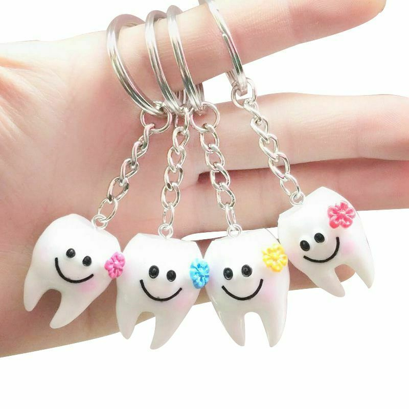 Keychain Key Ring Hang Tooth Shape <strong>Cute</strong> Dental <strong>Gift</strong> A1553