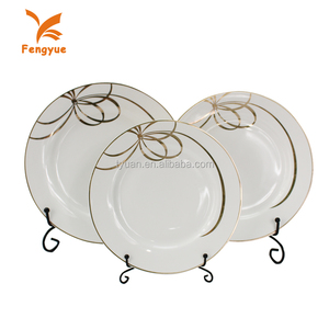 Tableware white hotel royal round dinner ceramic charger plate for wedding