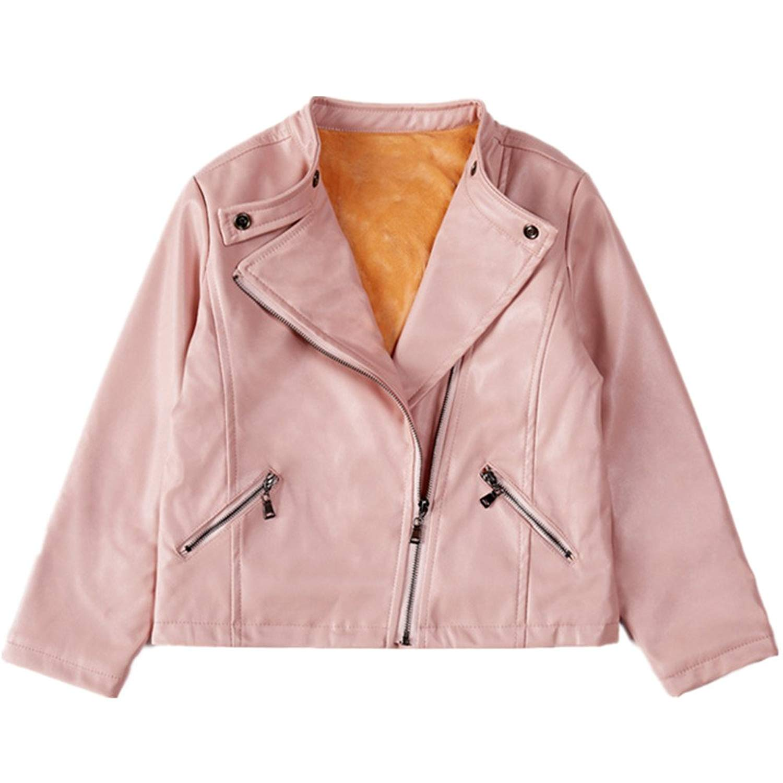 838111478c25 Get Quotations · LJYH Girls Faux Leather Jacket Winter Velvet Girls Leather  Outwear Pink Jacket