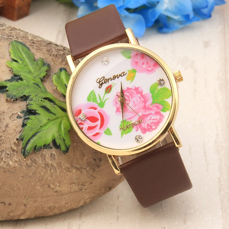 GENEVA Brand Fashion Leather Rose Flower Watch Women Dress Watch Stylish Quartz Watches montre geneva femme reloj mujer 2015