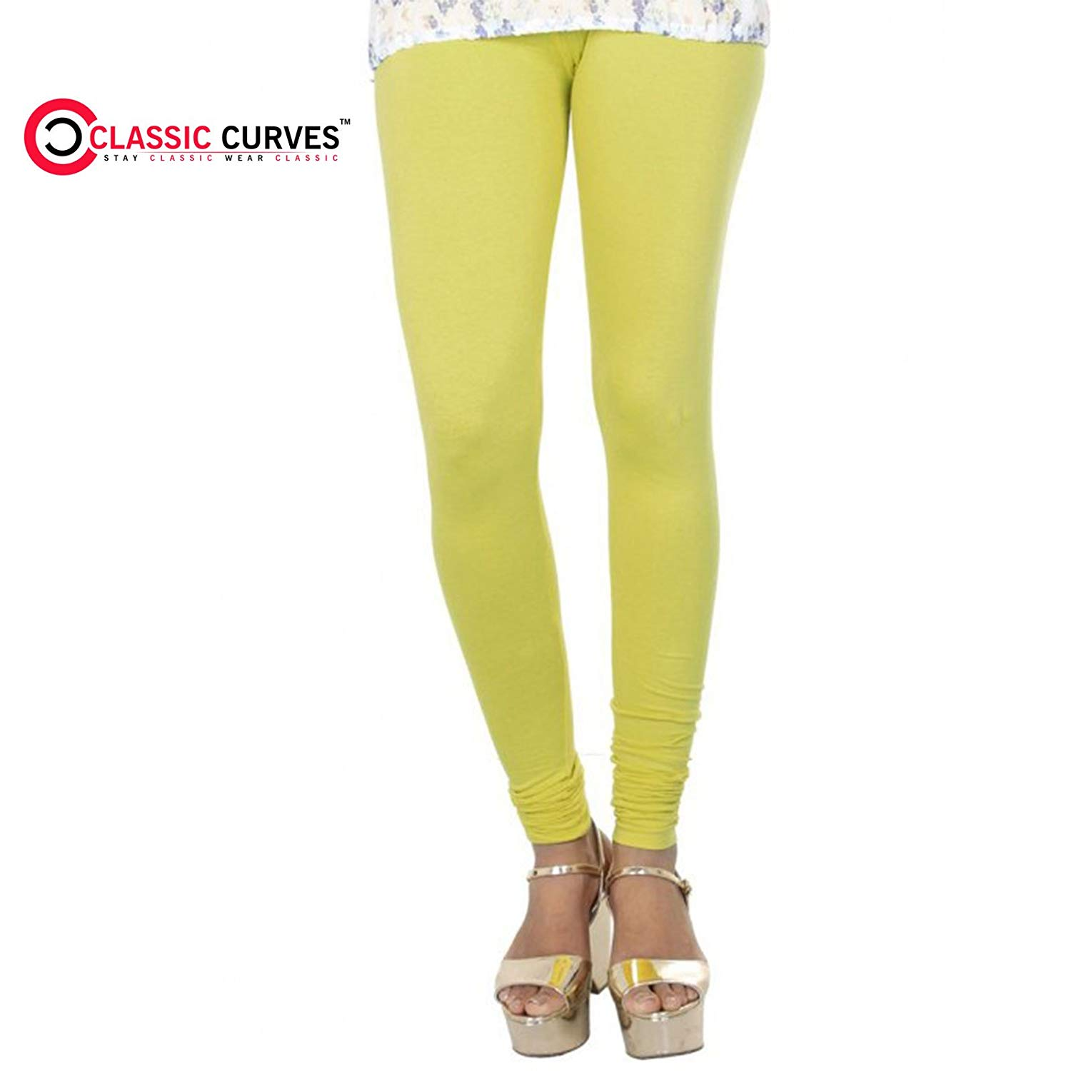 Pack of 2 /_Beige::Yellow Indistar Girls Super Soft Ankle Length Cotton Lycra Leggings