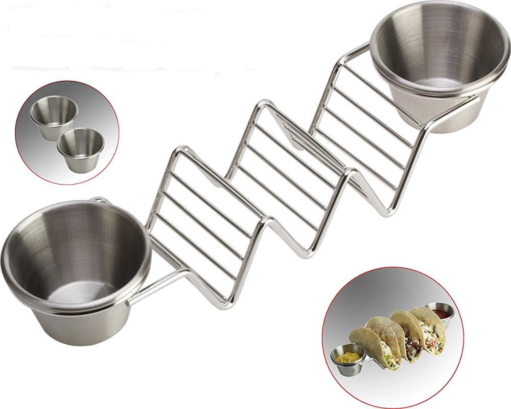 부 칙 (Set) 의 2) Stylish Stainless Steel Taco 홀더 트레이 와 소스 컵, great 대 한 3 Hard 나 Soft 쉘, Dishwasher, Oven Safe