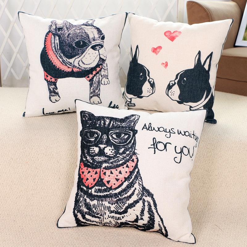 Free Shipping Black White Dog Cat Cotton Linen Fabric Decorative Cushion 45cm Hot Sale New Home Fashion Christmas Gift Pillow