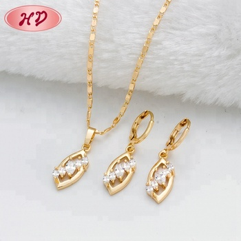 Guangzhou Artificial Jewelry Cheap Price Indian Bridal 18K Gold Plated Jewelry Sets