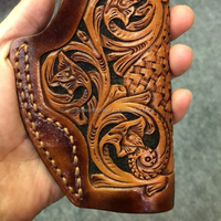 Tan Hand Carving Leather Belt Gun Holster Western Exotic Style for China M92 Custom for Glock 17 19 Colt M1911 MP shield 9mm
